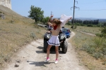 Quad bike ride in the white mountain valley in Crimea